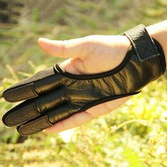 Archery Deer Skin 3 Finger Glove Shooting Protector Gear Leather High Elastic