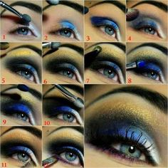 Fügen Sie dem Augen Make-up einen gelben Schimmer hinzu