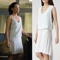 """Elementary Season 3, Episode 2 """"five pipz"""" fashion: Click to find out where Joan Watson (Lucy Liu) got her double layer white dress #elementary #lucyliu #joanwatson"""