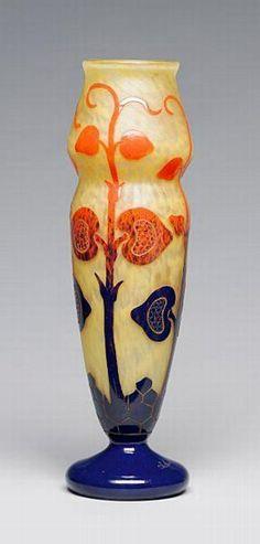A Le Verre Francais overlaid glass vase