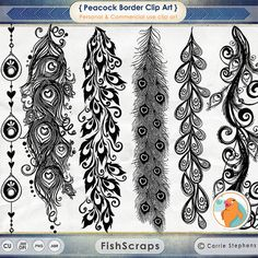 Evoke the spirit of Mother Nature with this set of peacock flourish borders clipart from Fish Scraps. Symbolizing immortality, this set of decorative