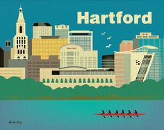 Hartford, Connecticut Skyline - Poster Wall Art - For new home gift, anniversary, couples, graduation, nursery rooms style E8-O-HAR via Etsy
