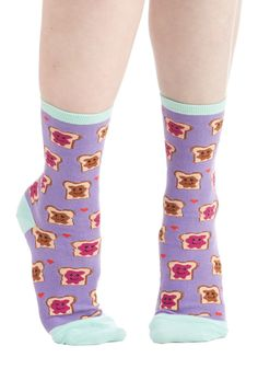 Culinary Combo Socks in Lunchtime. For a mouth-watering look that really hits the spot, treat yourself to these printed socks! #purple #modcloth