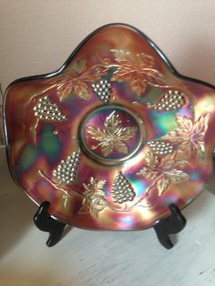 Northwood Grape and Cable 10 inch purple amethyst carnival glass ice cream bowl