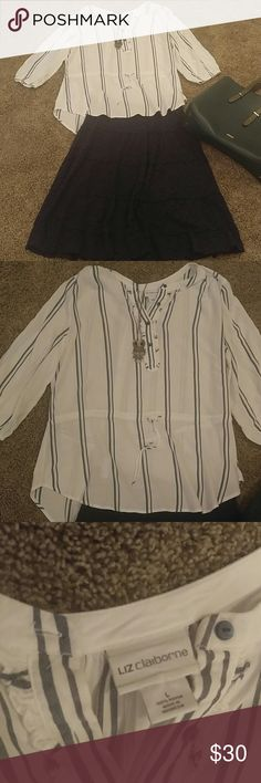 Liz Claiborne dark blue stripped blouse, 3/4 sleev Liz Claiborne dark,blue stripped blouse, 3/4 sleeve.  Only worn 1 time.  Dark blue skirt available in my closet too. Liz Claiborne Tops Blouses