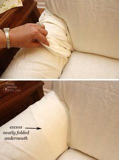 Getting a slipcover to fit smoothly neatly_folded_excess_slipcover Reupholster Furniture, Furniture Slipcovers, Furniture Makeover, Diy Furniture, Furniture Covers, Furniture Online, Modern Furniture, Furniture Design, Diy Sofa