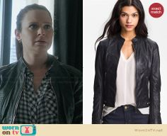 Quinn's black perforated leather jacket on Scandal.  Outfit Details: http://wornontv.net/30083/ #Scandal