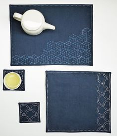 Ocean Waves PDF sashiko pattern - - modern embroidery - - coaster & placemat set Ocean Waves PDF sashiko pattern modern embroidery by SakePuppets Sashiko Embroidery, Iron On Embroidery, Paper Embroidery, Learn Embroidery, Japanese Embroidery, Modern Embroidery, Embroidery Patterns, Butterfly Embroidery, Shirt Embroidery