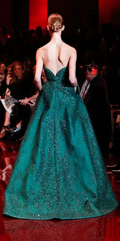 Elie Saab 2014  Amazing emerald green gown-- such a lovely ball gown!
