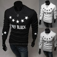Five Stars Only Black Designer Men Long Sleeve Tee . Shop Now At  http://sneakoutfitters.com/collections/new-in/products/ao-mbb-hb-b14-so38