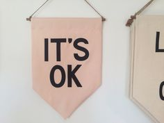 """Image of """"IT'S OK"""" banner - pink"""