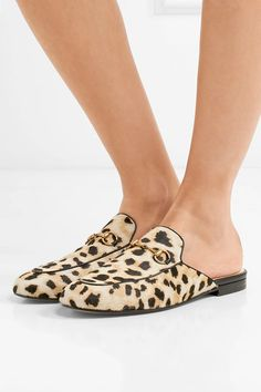 Heel measures approximately 10mm/ 0.5 inches Leopard-print calf hair  Slip on Made in ItalySmall to size. See Size & Fit notes.