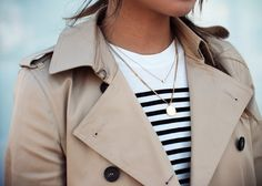 Classic trench, breton stripes and gold.