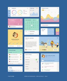 A very nice UI Kit with soft and warm colors. Flat design and vector elements. Complete screens including calendar, mnessages, settings, graphics. This free PSD UI Kit was designed and released by Unity.  http://graphicsbay.com/item/Flat%20and%20colorful%20UI%20Kit/38