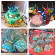 Water theme/ whales cookies & birthday cake !