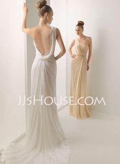Sheath/Column One-Shoulder Court Train Chiffon  Charmeuse Wedding Dresses With Ruffle  Lace (002011390)