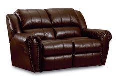 Summerlin Traditional Brown Leather Double Reclining Loveseat