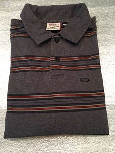 Men's OAKLEY Forged Goods Golf Polo Shirt  Regular Fit Gray Striped  Size S #Oakley #PoloRugby