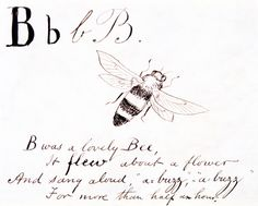 B was a lovely bee, it flew about a flower..., by Edward Lear (1812-88), from A Children`s Nonsense Alphabet. Drawing. England, c.1880.