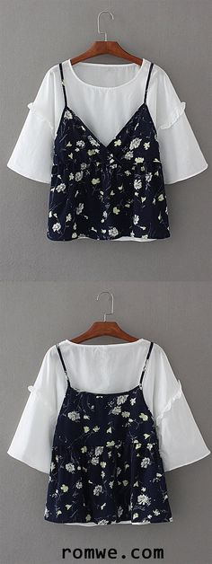 Frill Trim 2 In 1 Floral Top