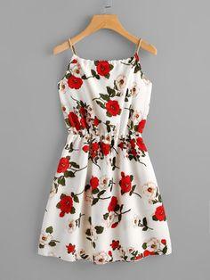Cami Kleid mit Blumen Muster und Selbstbindung- German SheIn(Sheinside)