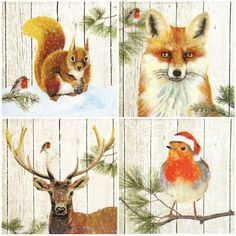 Winter Friends Selection - Square Glossy Christmas Card Making Toppers  #CottageCrafting