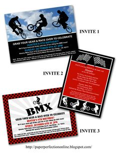 BMX invitations and party printables