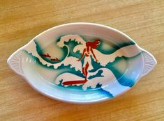 This SUPER-RARE piece of Wallace China (Los Angeles) is a rarebit dish with the epic SURFER GIRL pattern.  Had it once in my life and sold it. #surfer #california
