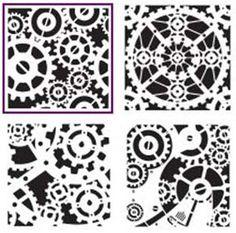 stencil << gears steampunk laser tiles panel screen grid