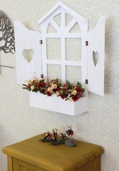 Gift ConceptAhşap Duvar Dekoru Pencere Yapay Çiçekleri ile