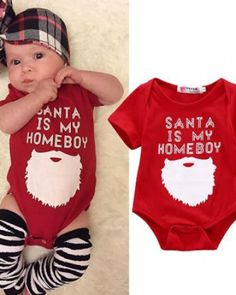 1ee32cae6f9a6 santa is my homeboy christmas outfit kids Xmas romper short sleeve,baby s  first christmas outfit