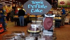 "Wegmans dessert throws a jab at Tom Brady - ""Tom's Deflate Cake""."