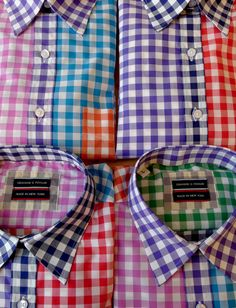 From Graham Fowler—multi-color gingham shirts made in NYC.