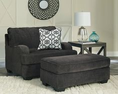 Charenton - Charcoal - Chair and a Half with Ottoman
