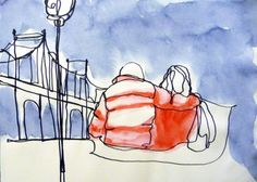Buy 1 Line - Couple in a winter day in New York, Watercolours by Art as you Go…