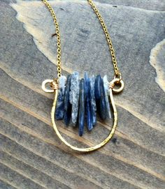 Rustic blue kyanite crescent moon geometric necklace by BlueTribe / tribal necklace / boho necklace / geometric necklace #tribal #boho