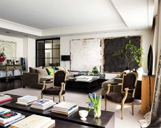 eclectic-living-room-decorating-ideas-modern-black-white-abstract-art-paintings-french-gray-chair-elegant-home-decor - Home Decor Living Room Decor Eclectic, Rooms Home Decor, Living Room Modern, Interior Design Living Room, Living Room Designs, Living Rooms, Living Area, Elegant Home Decor, Elegant Homes