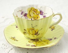 Foley Yellow Tea Cup and Saucer with Yellow Roses, Vintage Bone China by TheAcreage on Etsy https://www.etsy.com/listing/450312420/foley-yellow-tea-cup-and-saucer-with