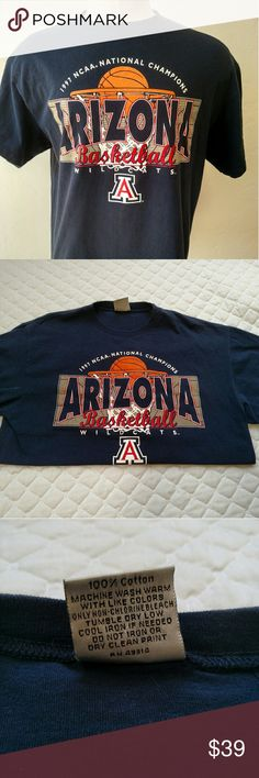 University of Arizona basketball 1997 champs Unused t shirt from their championship 20 years ago.  Dark Navy color. Shirts Tees - Short Sleeve