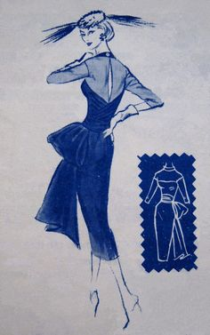 Vintage 1950s Sexy Cocktail Dress Pattern MODES by PatternGal, $175.00