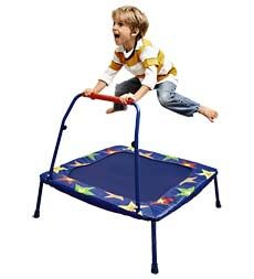 """Space-Saving Folding 34"""" Trampoline would keep my three-year-old busy for hours!"""