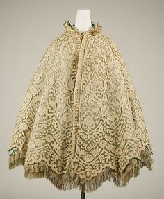 Cape: ca. 1860, American or European.
