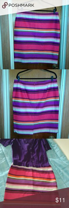 Liz Claiborne striped skirt Bright and feminine knee length skirt. Pairs perfect with the purple NY&Co or Talbots cardigan. Make me a deal, Bundle and save! Liz Claiborne Skirts Midi