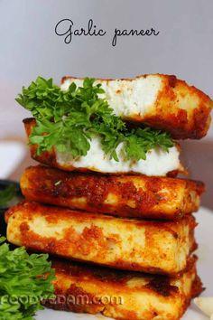 Garlic paneer-Pan fried garlic paneer recipe