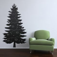 Christmas tree chalk board wall decal sticker.