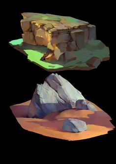 stone, xu jingjie on ArtStation Painting Tutorial, Digital Art Tutorial, Digital Painting Tutorials, Environment Design, Digital Painting, Environmental Art, Matte Painting, Landscape Art, Landscape Drawings