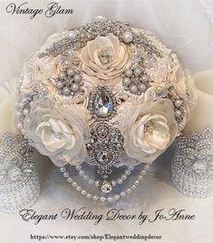 VINTAGE GLAM Brooch Bouquet-DEPOSIT Custom by Elegantweddingdecor
