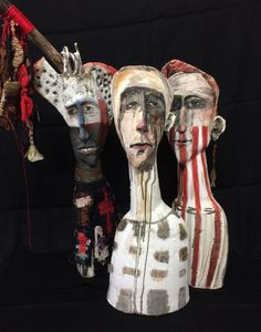 ...stuck in the middle... Ceramic sculpture 60cm h - mixed media