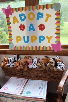 Adopt a puppy sign for a kids party with print out adoption certificates