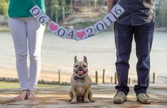 Engagement Photos at Lake Wylie, SC with Oliver the French Bulldog